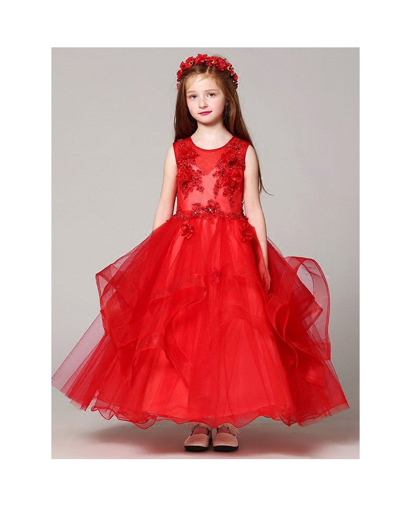 Long Ruffled Ball Gown Red Lace Flower Girl Dress with Beading ...