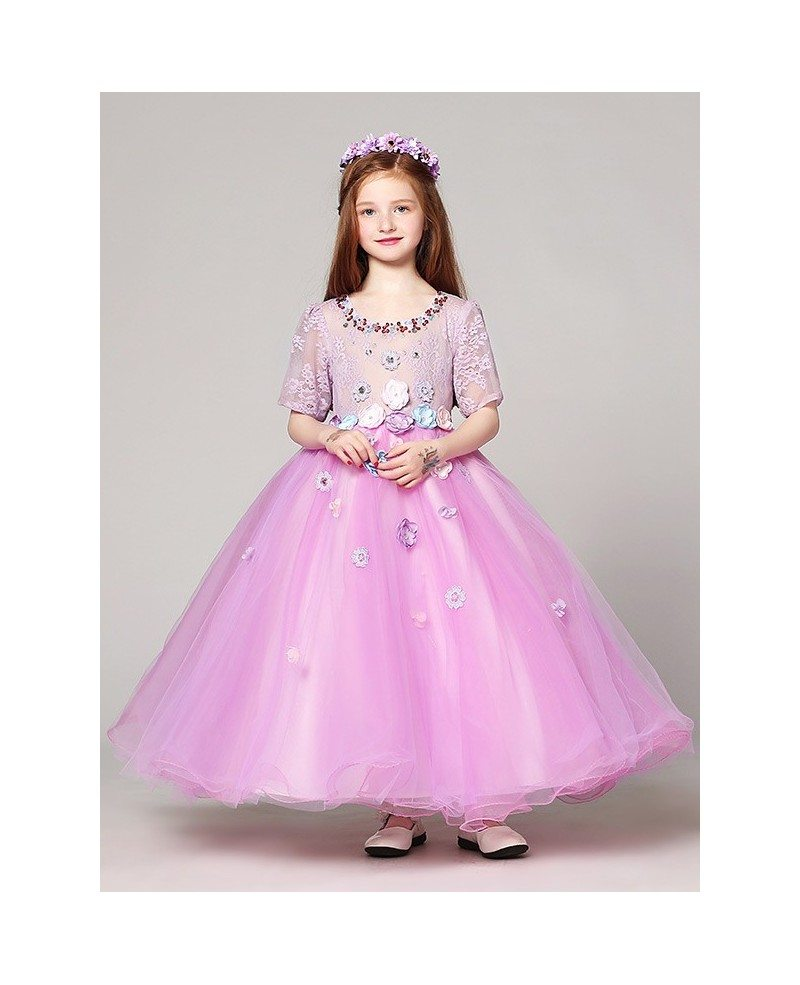 Fairy Long Ball Gown Lilac Lace Beading Flower Girl Dress with ...