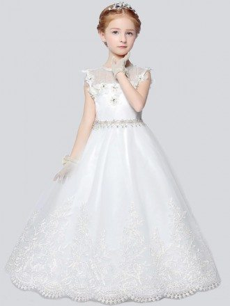 Little Girl's Ball Gown Lace Pageant Dress with Rhinestone Waist