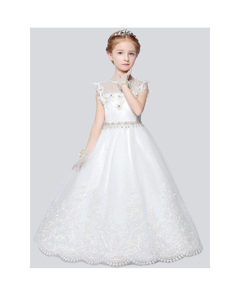 Little Girl\'s Ball Gown Lace Pageant Dress with Rhinestone Waist ...