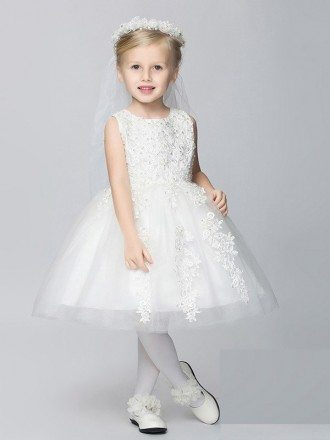 Ball Gown Lace Tulle White Short Flower Girl Dress with Beading