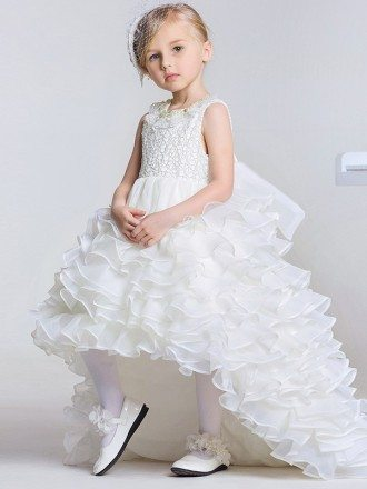 Cascading Style Ballroom Lace Bow Pageant Dress with Pearls Neck