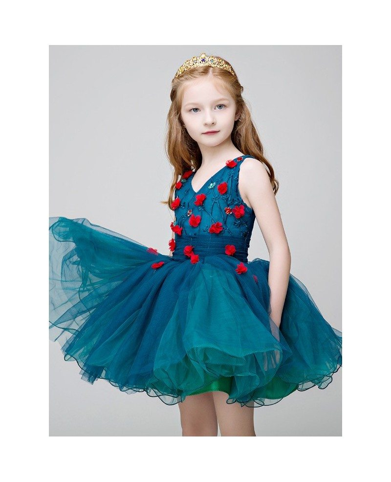 Little Girl\'s Sweetheart Blue Short Party Dress with Hand-made ...