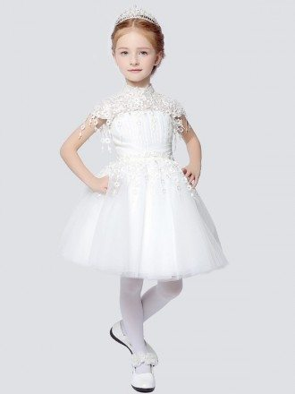 Little Girl's Modest Lace Tulle Collared Pageant Dress with Cap Sleeves