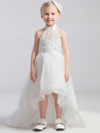High Low Lace Halter White Pageant Dress with Bows Train