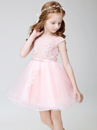 Cute Pink Cap Sleeves Tulle Lace Short Flower Girl Dress
