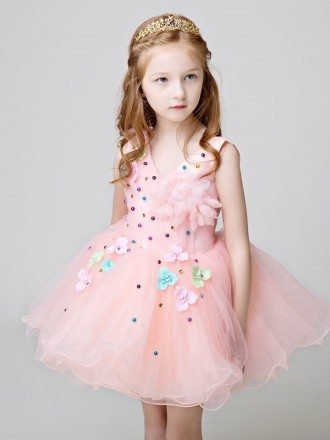 Cute Pink Short Tulle Tutu Flower Girl Dress with Beading