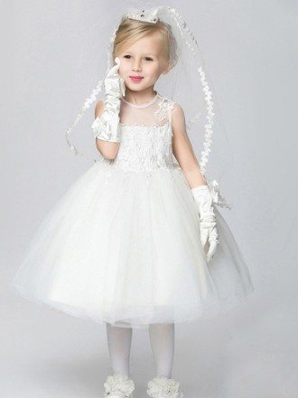 Pure White Lace Tulle Ball Gown Flower Girl Dress in Tea Length