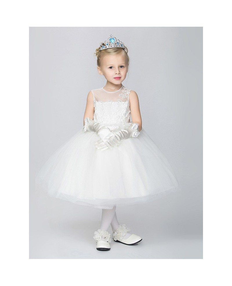 Pure White Lace Tulle Ball Gown Flower Girl Dress in Tea Length ...