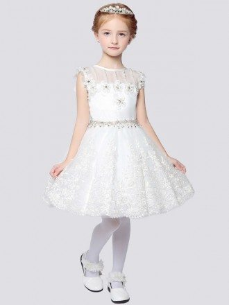 Ball Gown Short Lace Flower Girl Dress with Rhinestone Waist