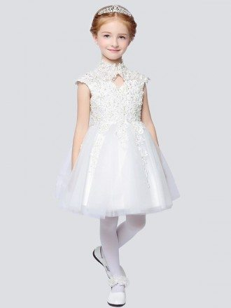 Vintage Cap Sleeve Short Lace Ballroom Flower Girl Dress with Collar