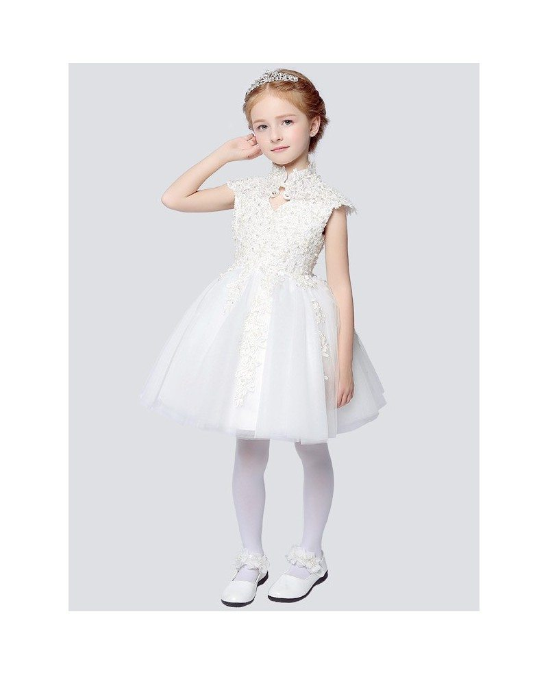 Vintage Cap Sleeve Short Lace Ballroom Flower Girl Dress With Collar EFF14