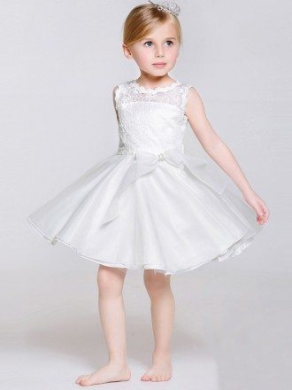 Short White Buttons Bow Flower Girl Dress with Lace Bodice