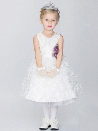 Knee Length Beaded Bubble Flower Girl Dress with Sash