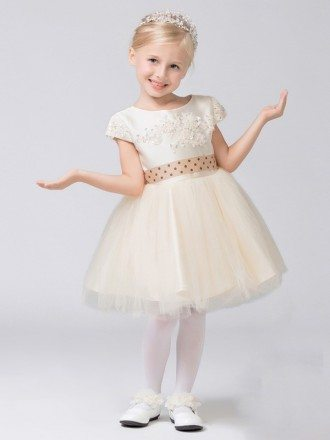 Modest Cap Sleeve Short Tulle Lace Flower Girl Dress with Dotted Sash