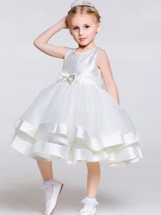 Tea Length Ball Gown Layered Tulle Satin Pageant Dress with Beaded Neck