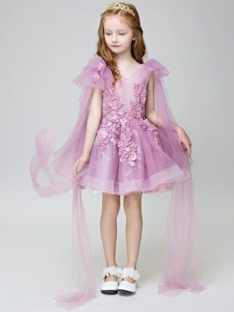 Lavender Tulle Lace Tutu Pageant Dress with Sleeves