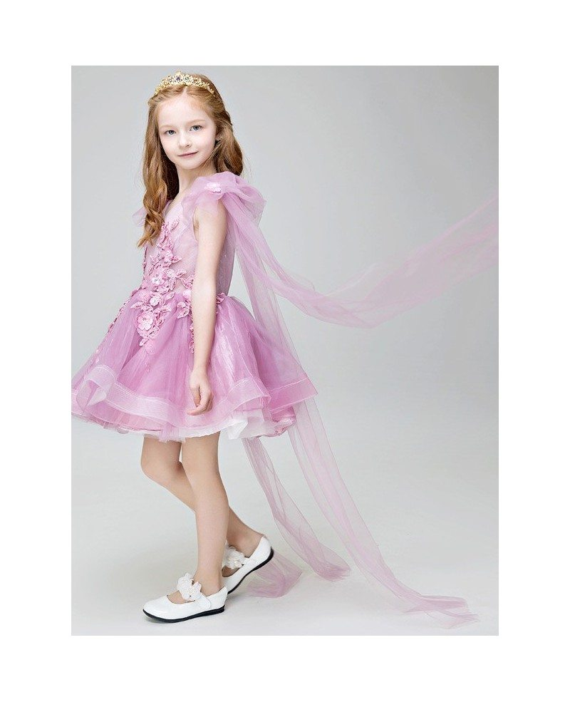 lavender tulle lace tutu pageant dress with sleeves eff22
