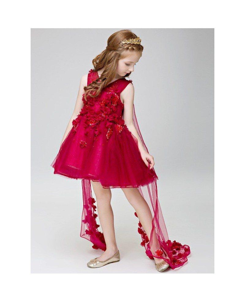 Hot Red Short Flowers Beaded Fairy Pageant Dress For Little Girls EFF23