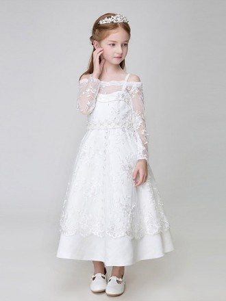 Ankle Length Whole Lace White Flower Girl Dress with Long Sleeves