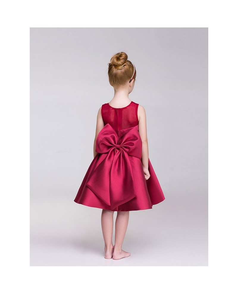 Hot Red Satin Short Flower Girl Dress with Bow Back #EFD05 ...