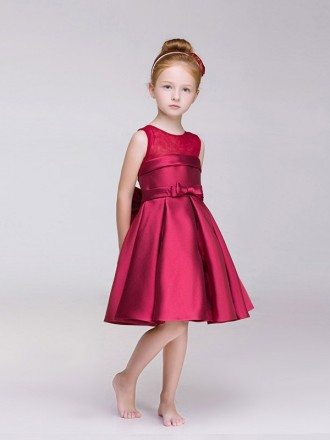 Hot Red Satin Short Flower Girl Dress with Bow Back