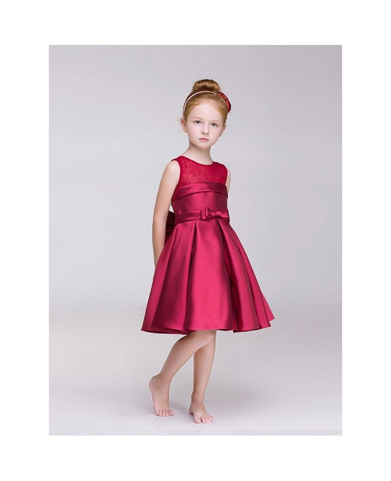 Hot Red Satin Short Flower Girl Dress With Bow Back Efd05