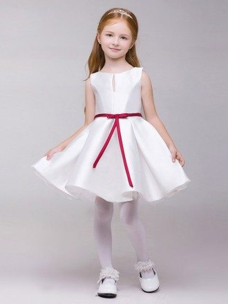 Simple A Line Satin Short Flower Girl Dress White with Red Sash