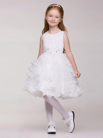 Knee Length Tiered Organza Beaded Bow Pageant Dress for Little Girls