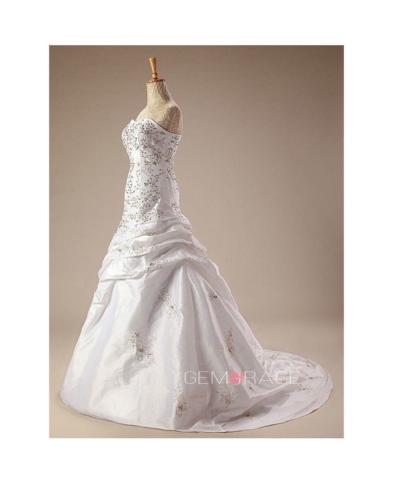 Sequined embroidered ballgown taffeta wedding dress with for Embroidered wedding dress