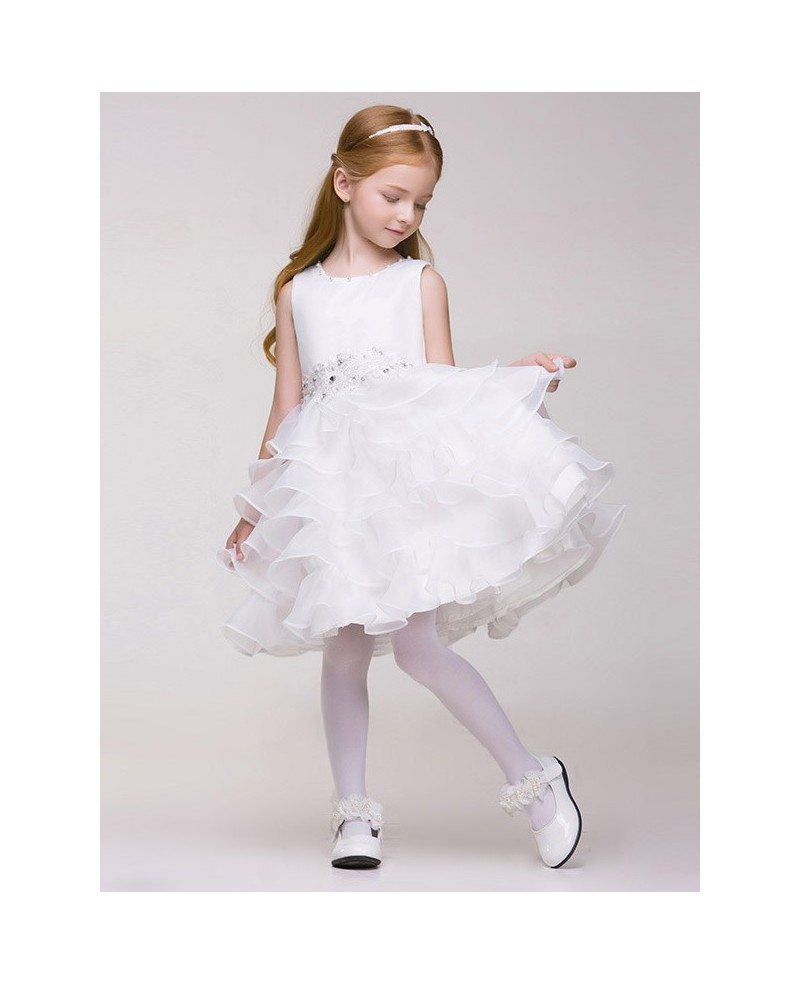 Knee Length Tiered Organza Beaded Bow Pageant Dress For