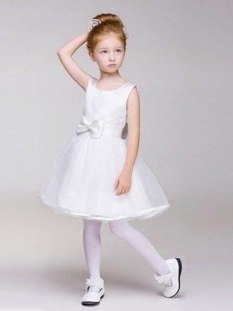 Plain White Satin and Tulle Short Flower Girl Dress with Bow Sash