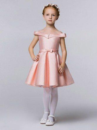 Simple Cute Pink Taffeta Cap Sleeve Flower Girl Dress with Buttons
