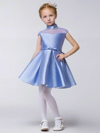 Little Girl's Modest Collared Blue Pageant Dress with Sheer Top