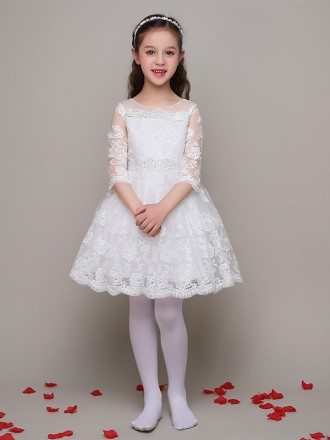 All Lace A Line Short Beaded Flower Girl Dress with 3/4 Sleeves