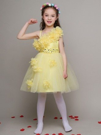 Pretty Yellow Tulle Beaded Short Pageant Dress with Handmade Flowers