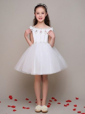 Cap Sleeve Tulle Lace Short Flower Girl Dress with Crystals Beading