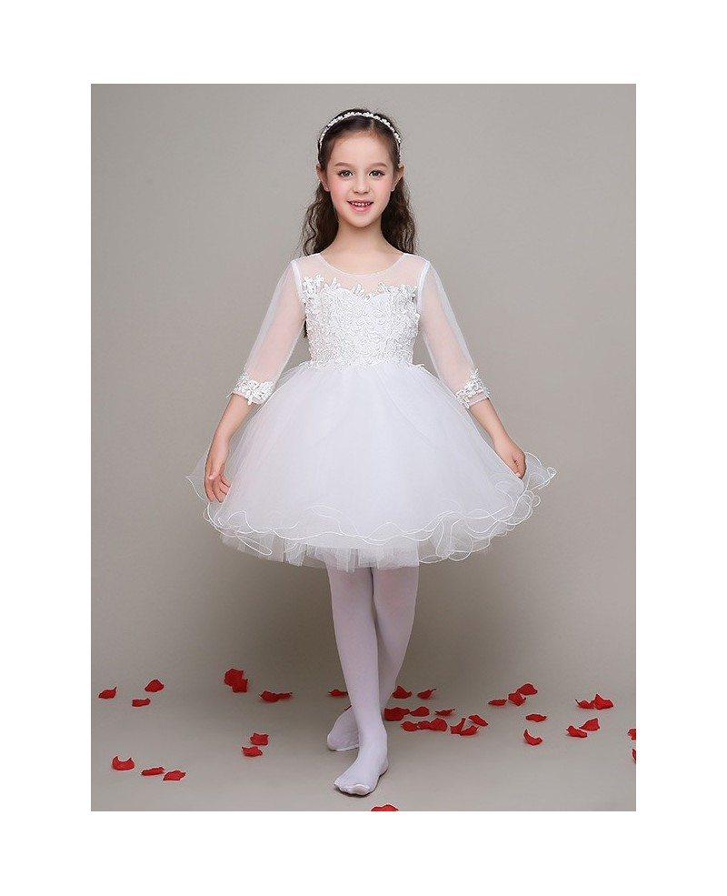Short Ball Gown Tulle Lace Flower Girl Dress with 3/4 Sleeves #EFL04 ...
