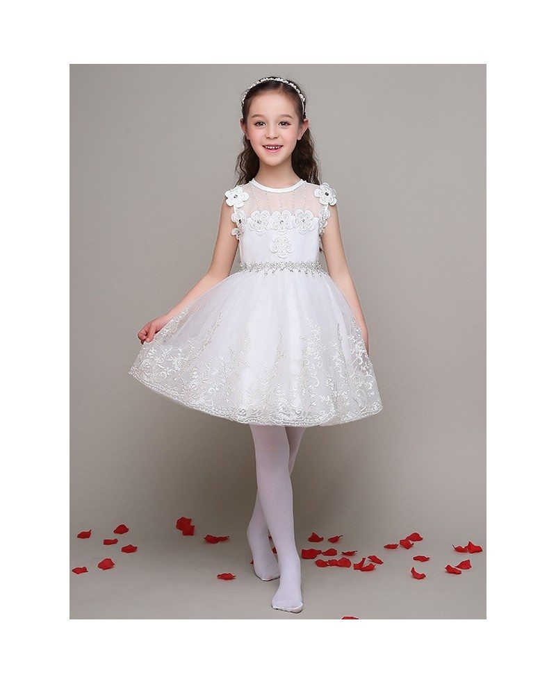 Tulle Lace Short Ball Gown Pageant Dress with Diamonds Beading ...