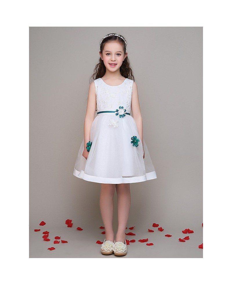 Lace short white little girls dress with blue flowers efl25 lace short white little girls dress with blue flowers izmirmasajfo