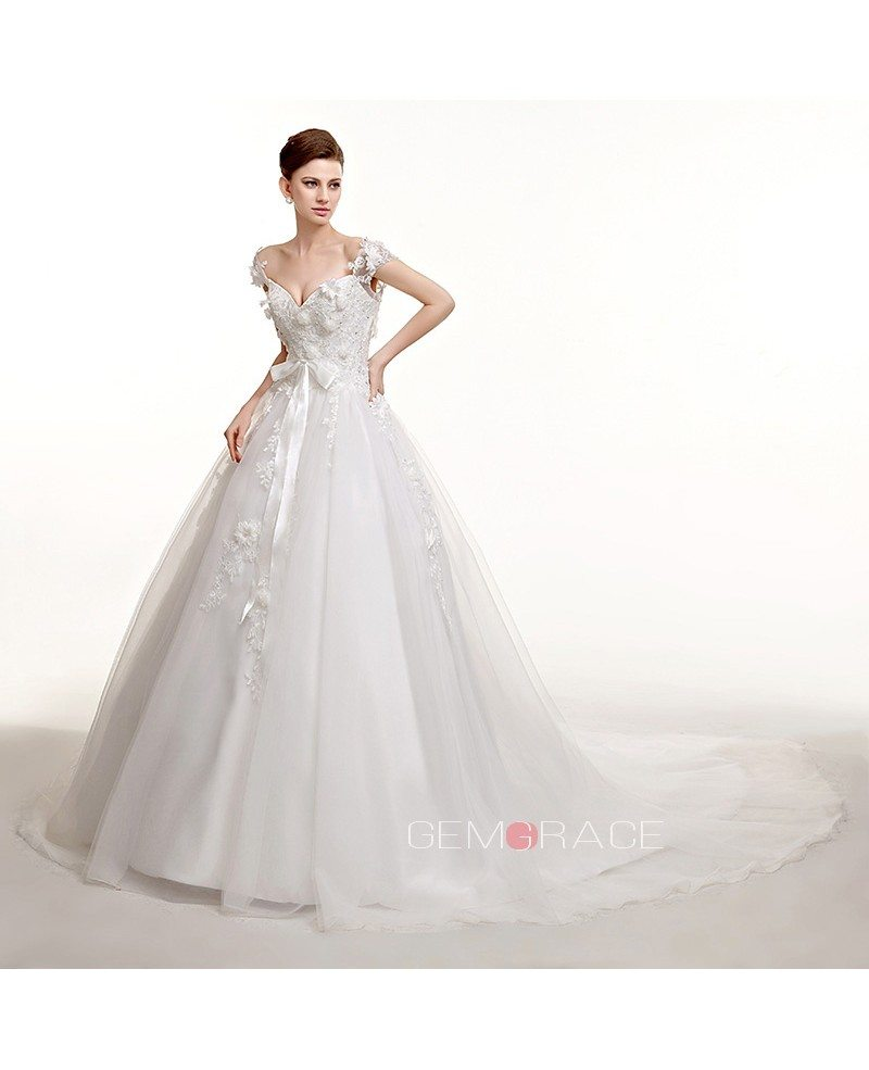 Lace Cap Sleeves Long Train Ballgown Wedding Dress with Bow Sash ...