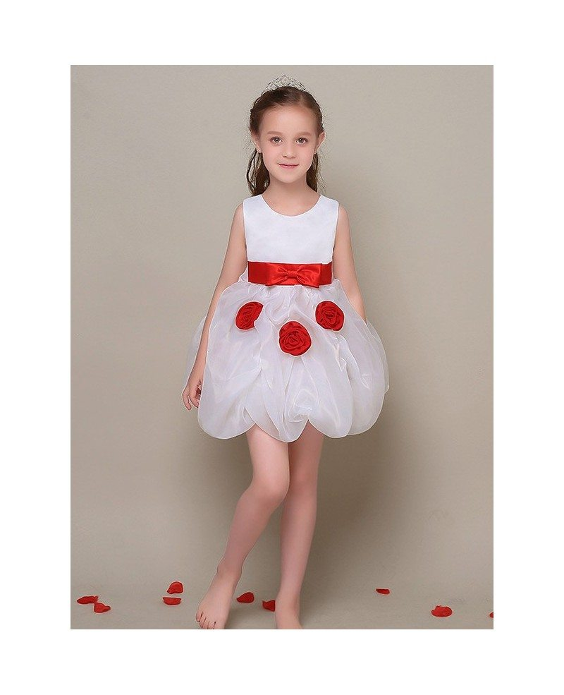 Simple Short White Flower Girl Dress With Red Sash Efl42 Gemgrace