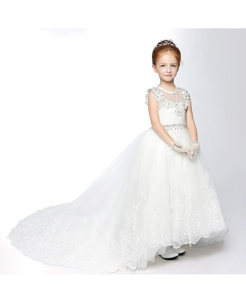 White lace long train flower girl dress with diamond waist efs01 white lace long train flower girl dress with diamond waist mightylinksfo
