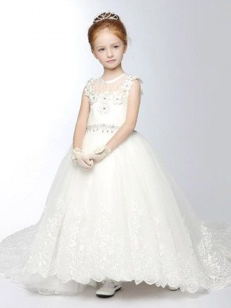 White Lace Long Train Flower Girl Dress with Diamond Waist