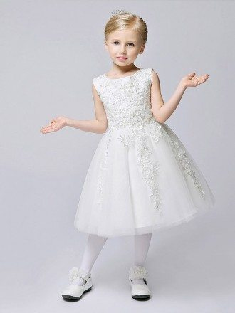 Short A Line Lace Tulle White Flower Girl Dress
