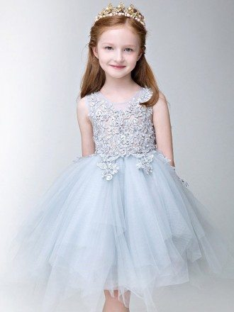 Asymmetrical Tulle Fairy Blue Lace Pageant Dress for Little Girls