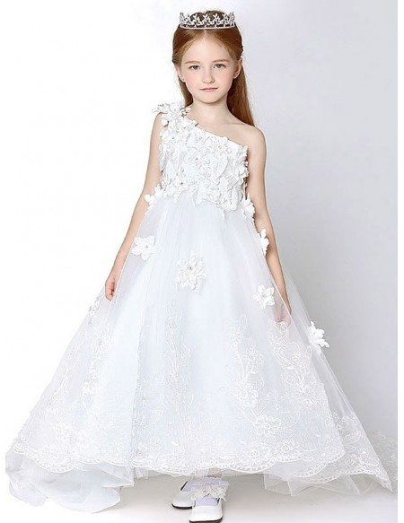 One shoulder long lace applique flower girl dress with cathedral grace love one shoulder long lace applique flower girl dress with cathedral train mightylinksfo
