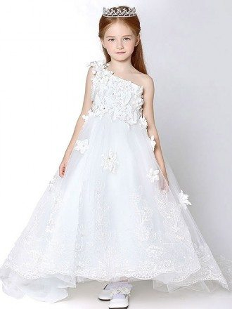 One Shoulder Long Lace Applique Flower Girl Dress with Cathedral Train
