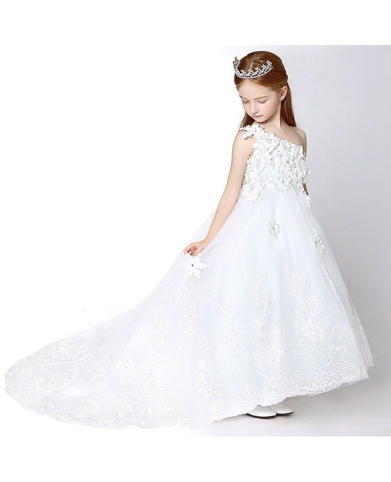 flower girl dresses with train