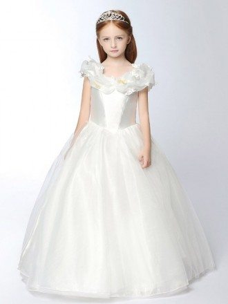 Taffeta and Organza Long White Ballroom Girl's Pageant Dress